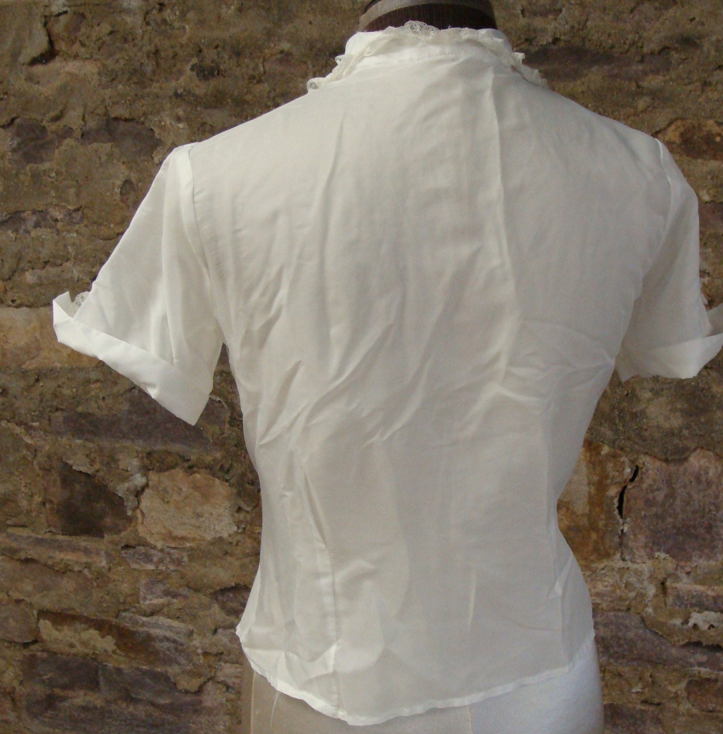 SHEER WHITE BLOUSE vintage peter pan collar lace trim S (G7)
