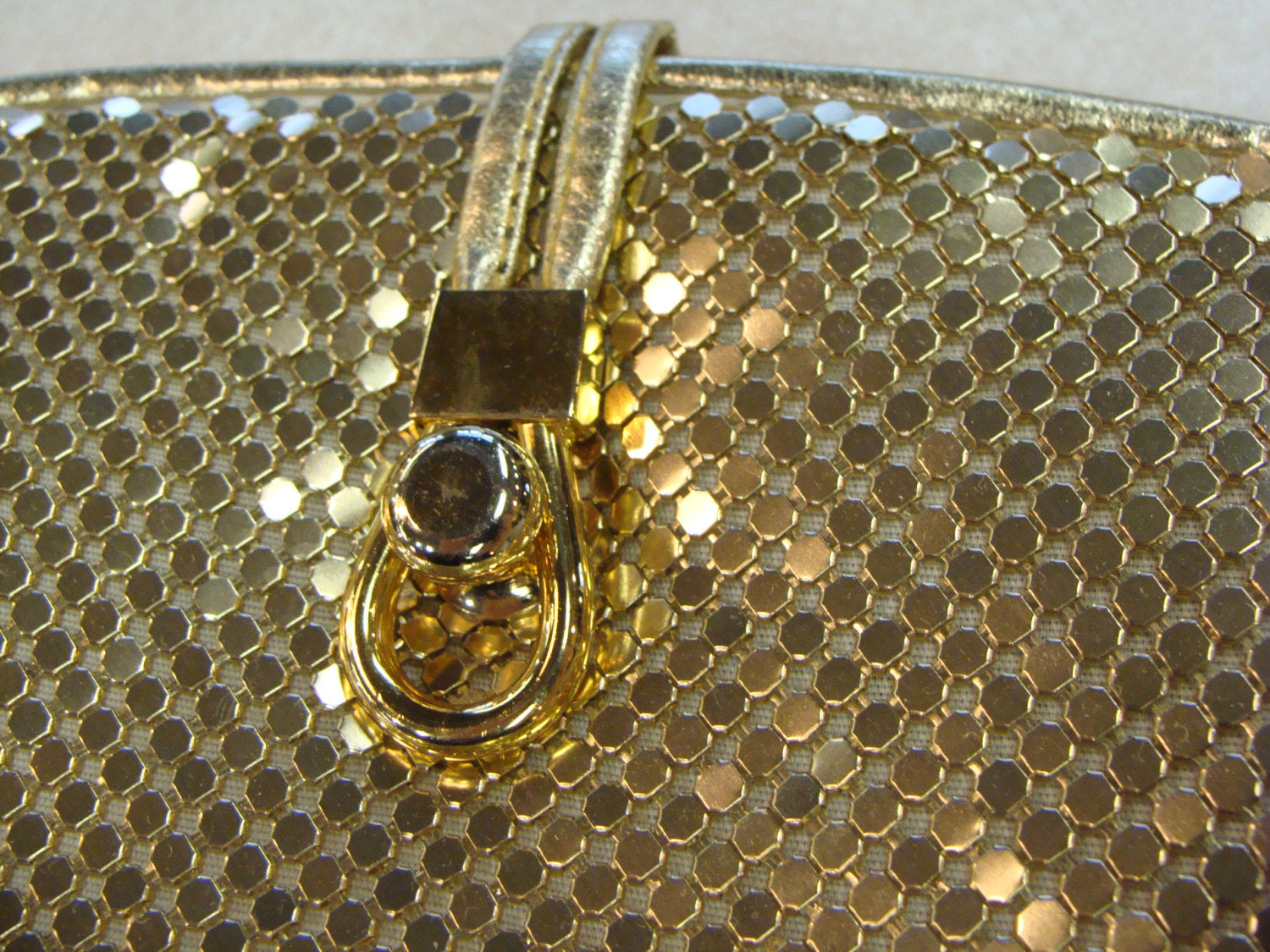 GOLD METAL MESH shoulder bag 80's 90's chainmaille (H4)