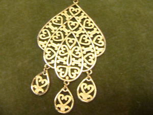 GOLDTONE VINTAGE PENDANT large medallion boho necklace (C5)