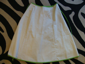 IVORY WRAP SKIRT with grapes appliqué 1960's 1970's S (A9)