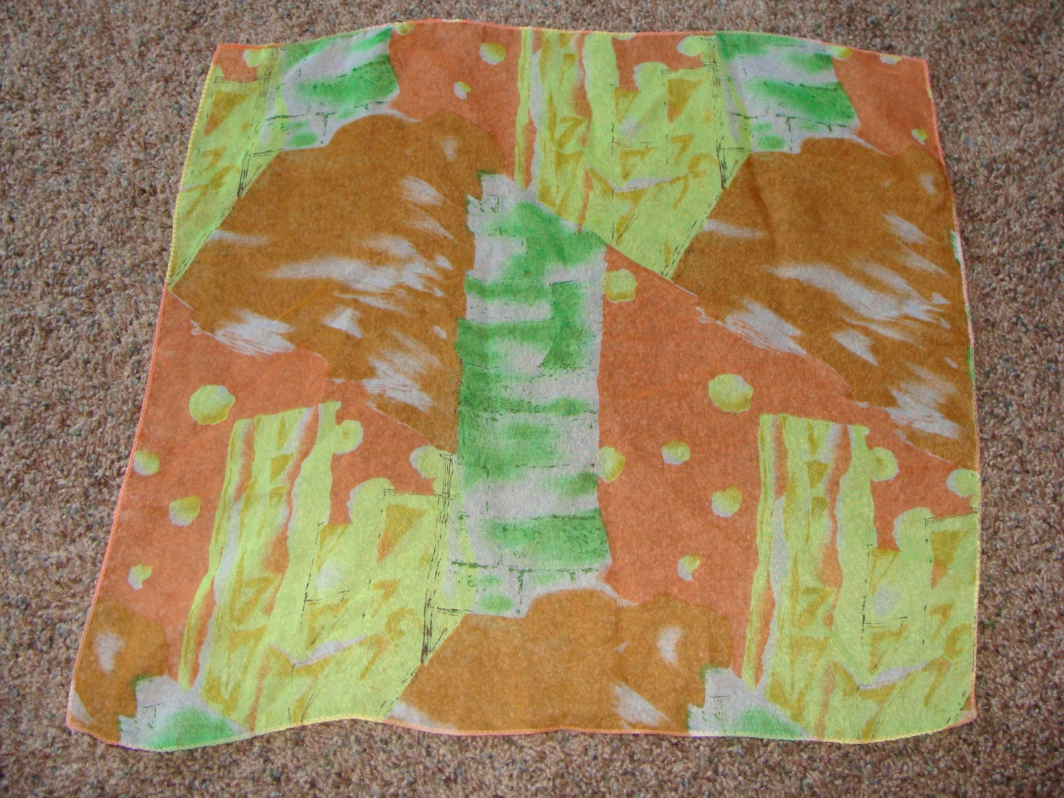 lot of 2 SQUARE SHEER SCARVES abstract modern 17""