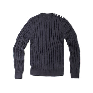 Navy Blue Cable Knit Sweater