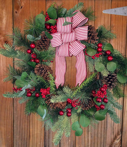 Wreath w berries/pine cones/red/white bow 24""