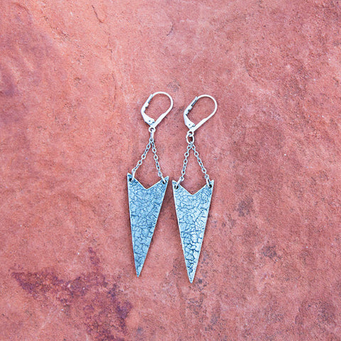 Chevron Craquelure Earrings - Antiqued Silver