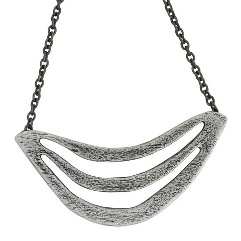 Triple Arc Breastplate Necklace - Antiqued Silver