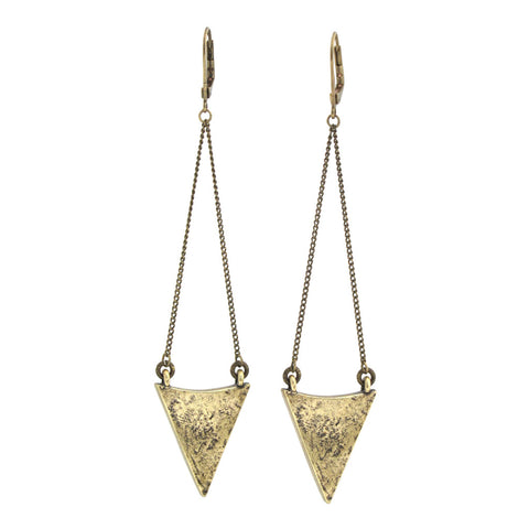 Arrowhead Earrings - Antiqued Brass
