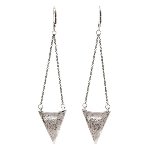 Arrowhead Earrings - Antiqued Silver