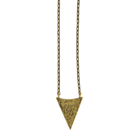 Arrowhead Necklace - Antiqued Brass