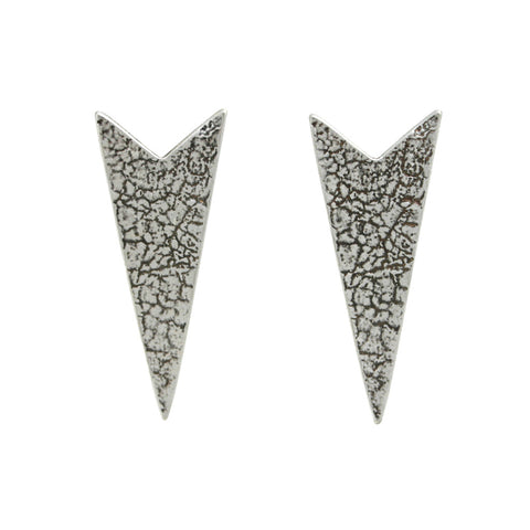 Chevron Craquelure Post Earrings - Antiqued Silver