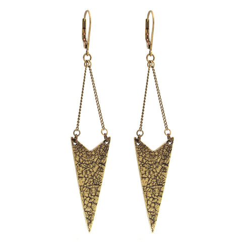 Chevron Craquelure Earrings - Antiqued Brass