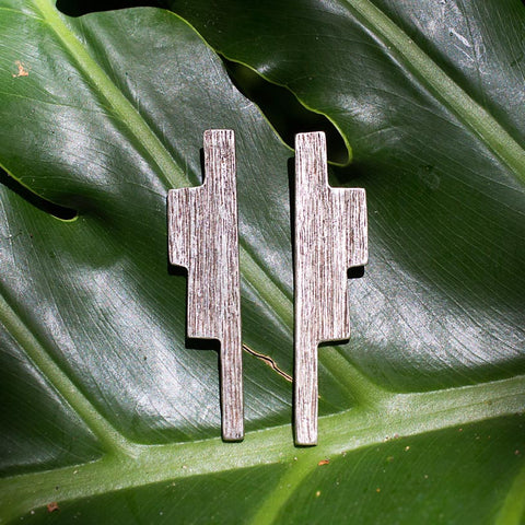 Ziggurat Earrings - Antiqued Silver