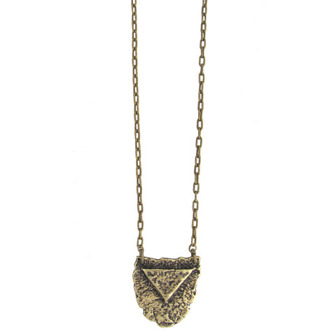 Mini Shield Necklace - Antiqued Brass