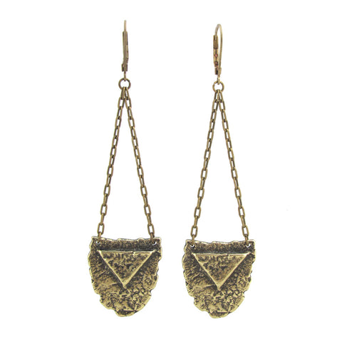 Mini Shield Earrings - Antiqued Brass