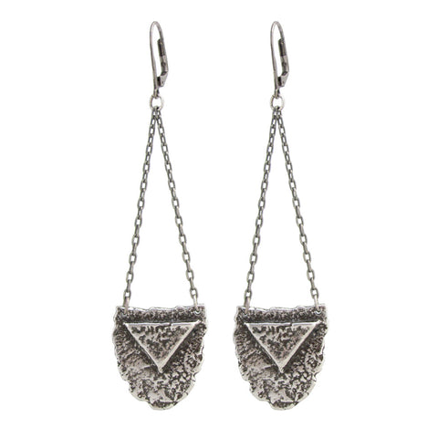 Mini Shield Earrings - Antiqued Silver
