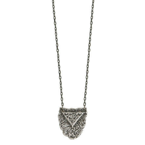 Mini Shield Necklace - Antiqued Silver