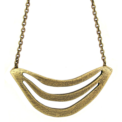 Triple Arc Breastplate Necklace - Antiqued Brass