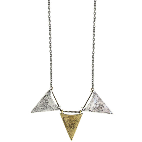 Triple Arrowhead Necklace - Antiqued Silver