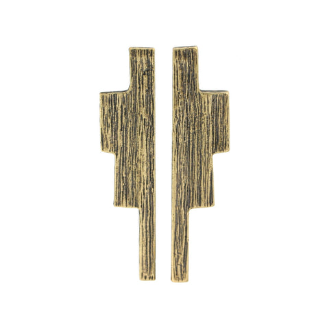 Ziggurat Earrings - Antiqued Brass