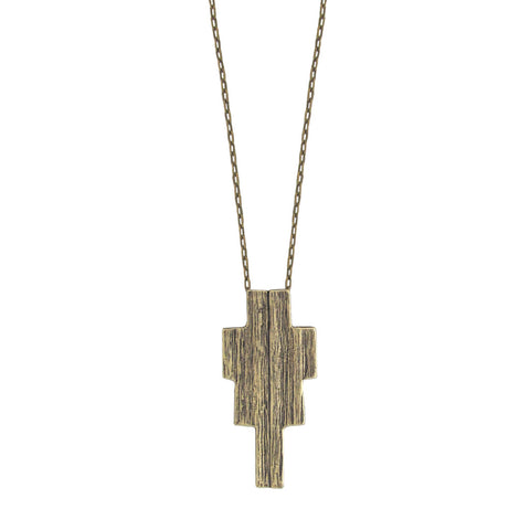 Ziggurat Necklace - Antiqued Brass