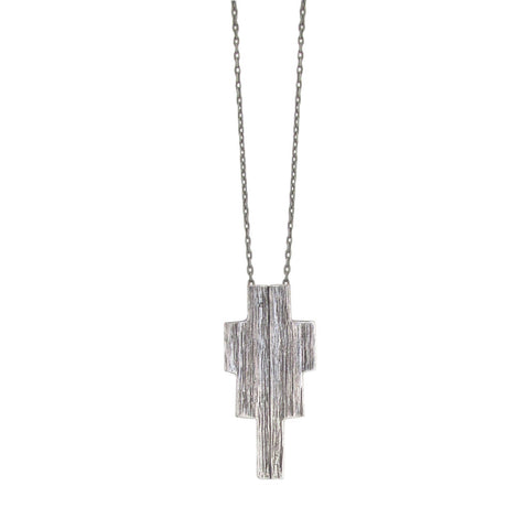 Ziggurat Necklace - Antiqued Silver