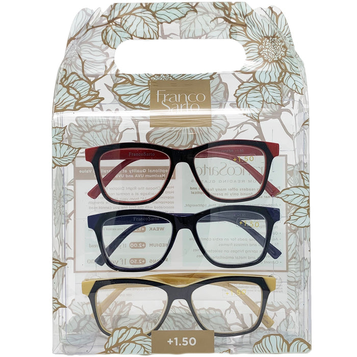Franco Sarto Reading Glasses 3 Pack | Available Powers (+1.50) (+2.50)