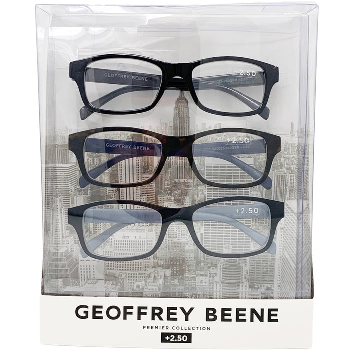 Geoffrey Beene Reading Glasses 3 Pack | Small Square Shape | Available Power (+2.50)