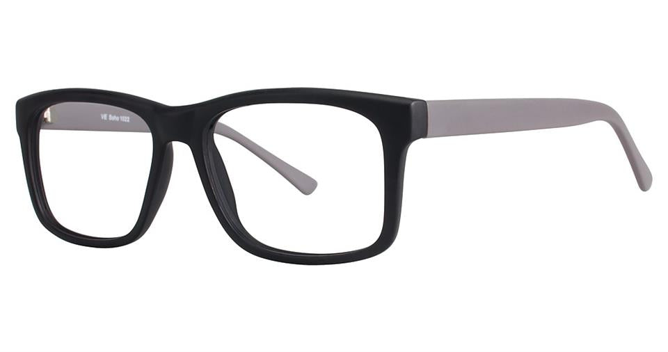 Blue Light Block Eyeglasses - SOHO 1022 Matt Black with Grey Temples