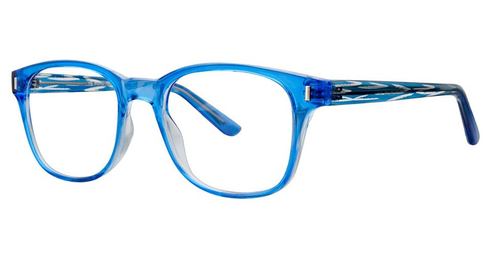 Blue Light Block Eyeglasses - SOHO 1034 Blue with Blue Stripe Temples