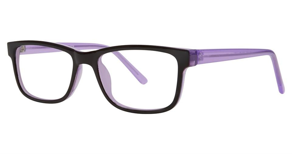 Blue Light Block Eyeglasses - SOHO 1028 Black Purple with Purple Temples