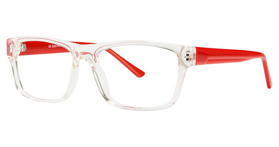 Blue Light Block Eyeglasses - SOHO 1018 Crystal with Red Temples