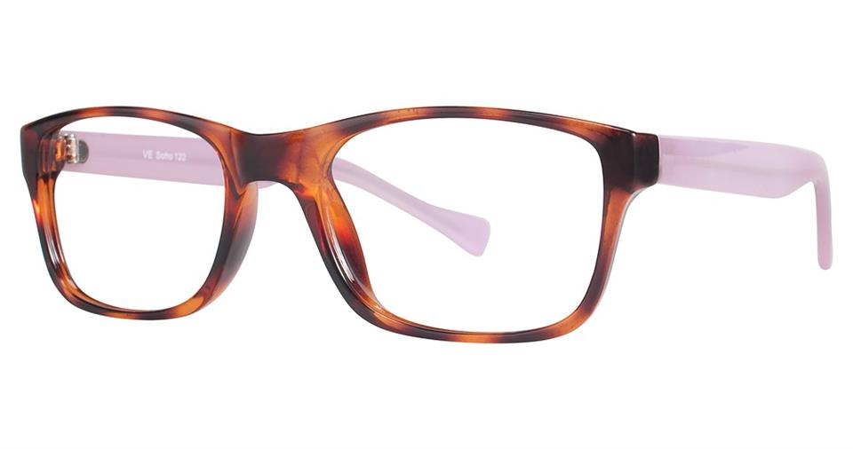 Blue Light Block Eyeglasses - SOHO 0122 Tortoise with Pink Temples