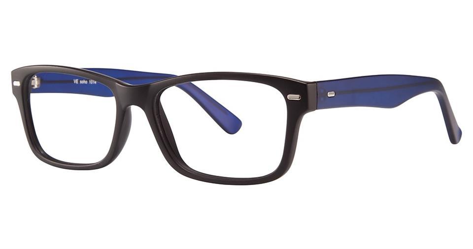 Blue Light Block Eyeglasses - SOHO 1014 Black with Blue Temples