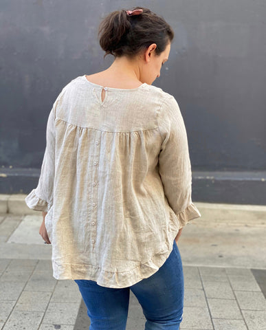 Liberty Linen Top Beige