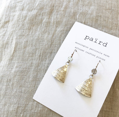 Etched Silver Shield Earrings