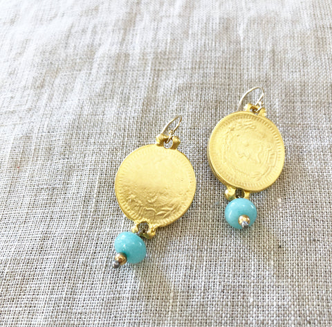 Amazonite + Stone 24k Gold Earring