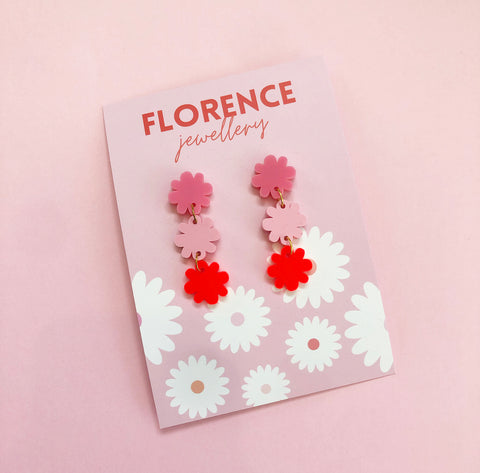 Florence Amaze Daisy Dangles Red + Pink
