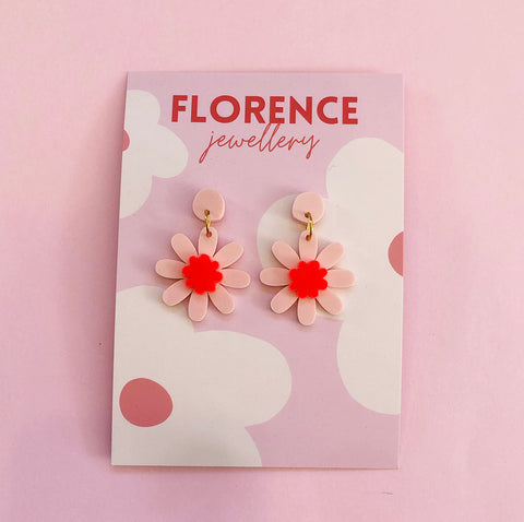 Florence Amaze Daisy Dangles Pink + Red