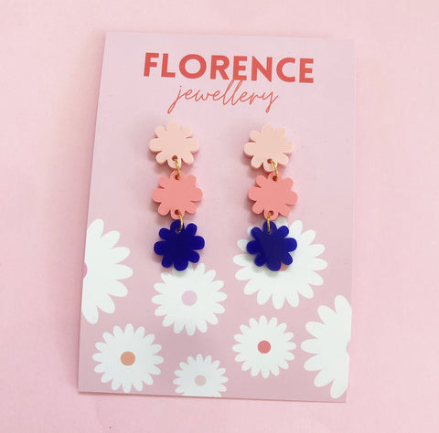 Florence Amaze Daisy Dangles Navy + Pink