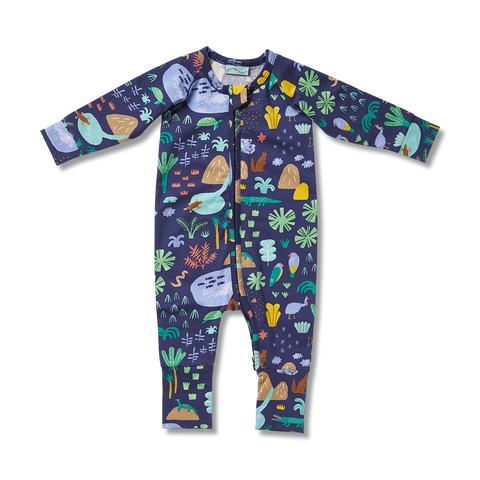 Beach Forest Long Sleeve Zip Suit