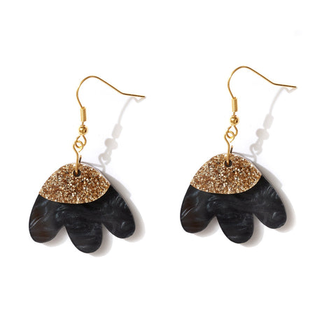 Elle Earrings Black + Gold
