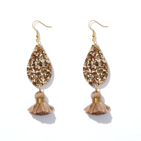 Dolly Earrings Gold + Brown