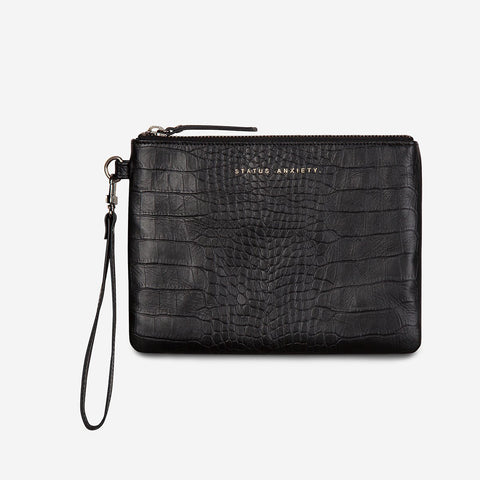 Fixation Clutch // Black Croc Embossed