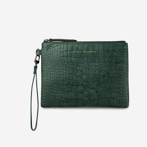 Fixation Clutch Teal Croc Embossed