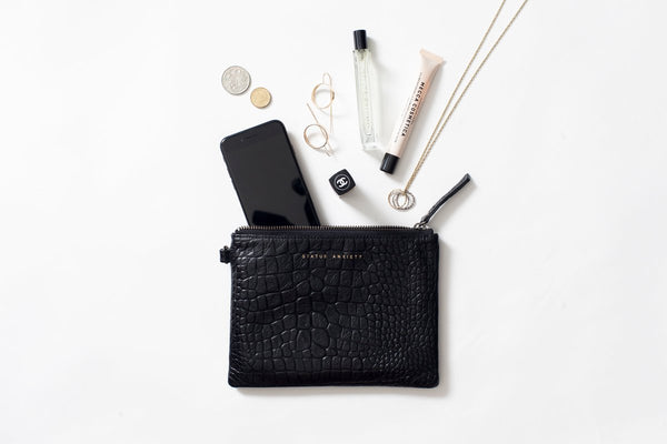 Fixation Clutch || Black Croc Embossed