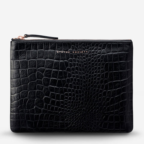 Fake It Clutch Black Croc