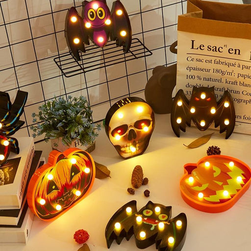 Halloween Lights home Decorative Led Lights Diwali Styling Lamp Night Light Helloween Spider Bat Pumpkin Ghost Skull Lights - Glow Gravity