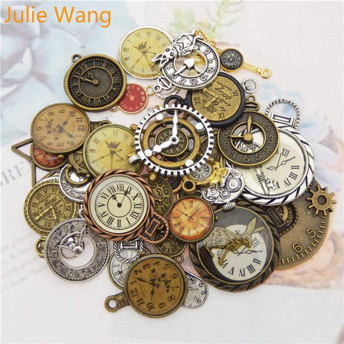 10pcs Random Mixed Clock Watch Face Charms Alloy Necklace Pendant - Glow Gravity