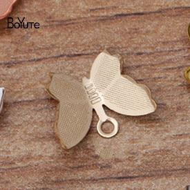 BoYuTe 100Pcs 11*13MM Butterfly Charms Diy Hand Made Metal Brass Accessories Parts for Hair Jewelry Making - Glow Gravity