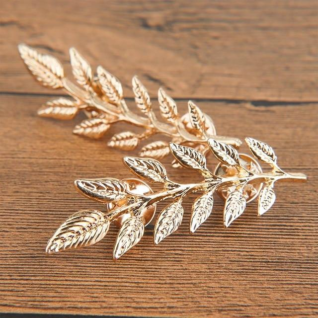 Leaf Brooch Metal Vintage Women Girl Charming Exquisite Collar - Glow Gravity