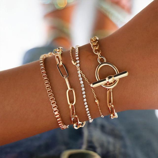 Bracelet Set Boho Jewelry Bohemian Gold Chains Infinity Double Heart Love Bracelets For Women Anklet - Glow Gravity